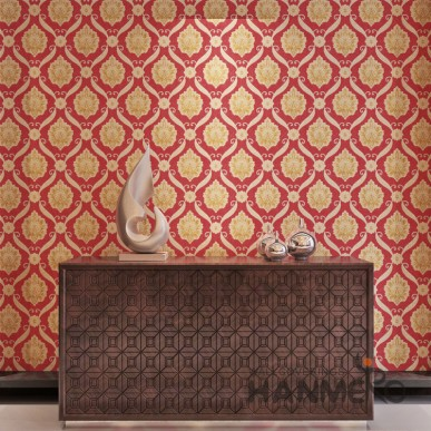 HANMERO Bright Red And Gold European Flower Designs Vinyl Embossed Wallpaper