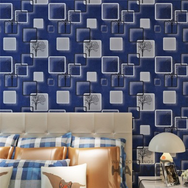 HANMERO 3D Vision Geometric Deep Blue Modern PVC Wallpaper With SGS Test