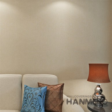 HANMERO Light Gold Solid Color PVC Embossed Wallpaper With SGS Test