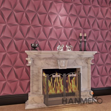 HANMERO Classic Wine Red 3D PVC Stereoscopic Embossed Modern Wallpaper